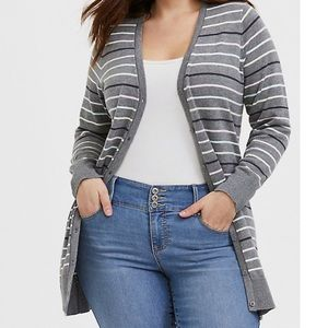 GREY & MULTI PASTEL STRIPE BOYFRIEND CARDIGAN